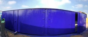 40ft Containers with Side Doors in blue door open 1