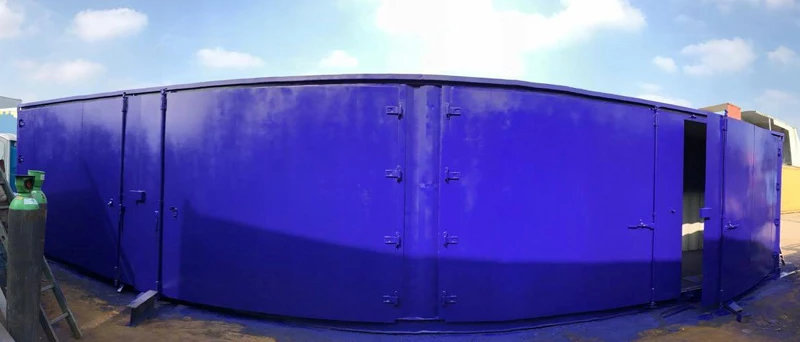 40ft Containers with Side Doors in blue door open 1