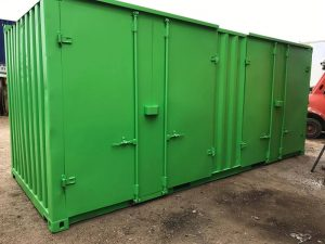 Containers with Side Doors in Green