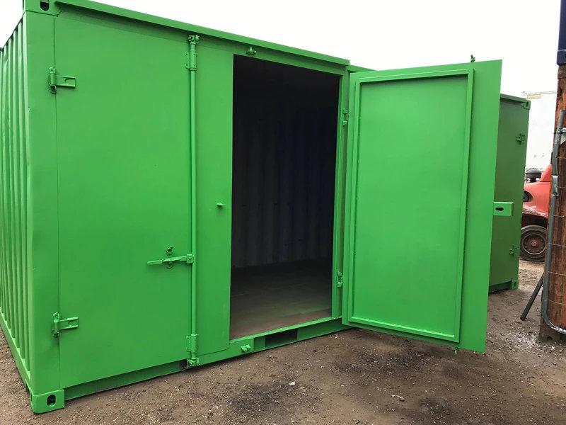 Containers with Side Doors in Green with door open