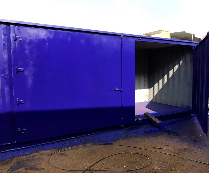 Containers with Side Doors in blue door open