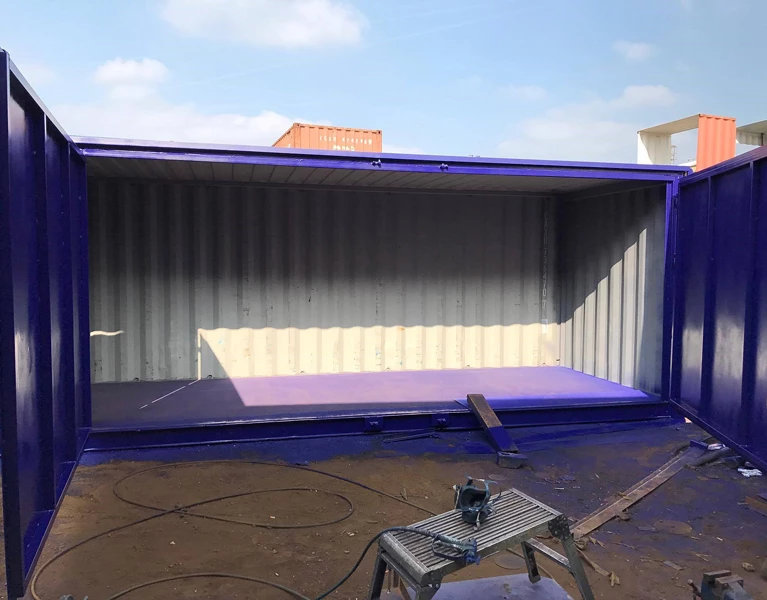 Containers with Side Doors in blue more open