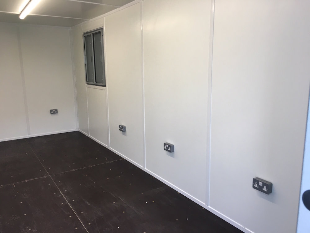 Inside Container Conversion to Office Space