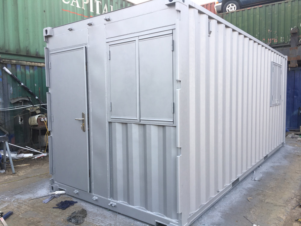 Outside of Container Conversion to Office Space